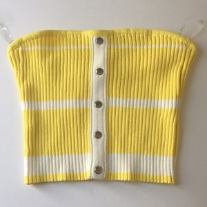 Hot & Delicious White/Yellow Striped Bandeau